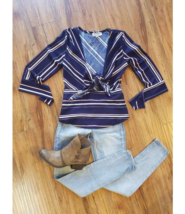 L/S Stripe Tie Blouse Navy/Multi