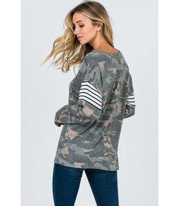 American Chic L/S Camo Print Tunic Shirt Green/Multi