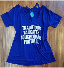 Sweet Claire Jersey Football Tee Royal Blue/White