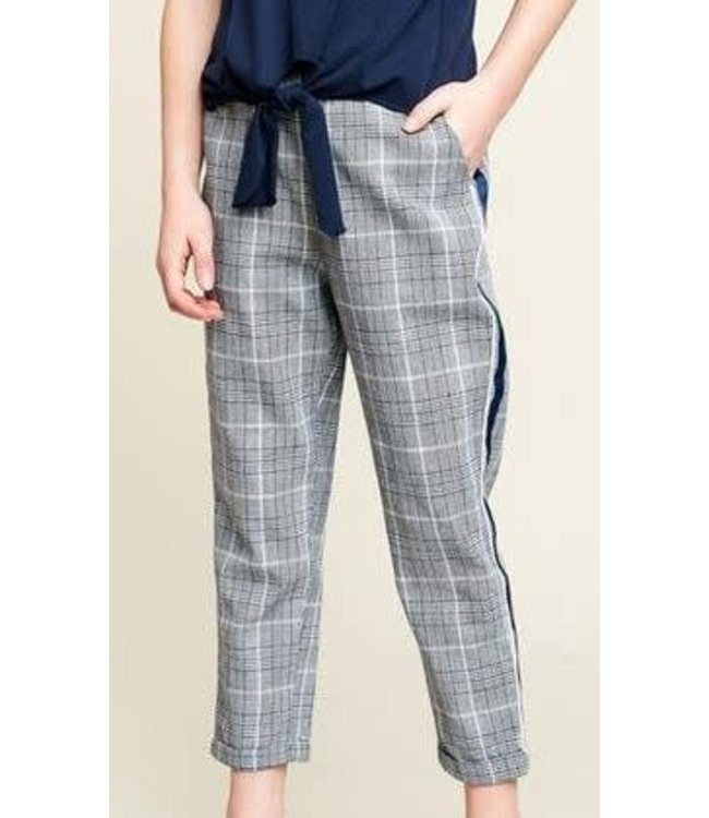Plaid Trouser W/ Tape Detail Off White/Multi