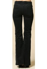 Corduroy Span Swede High Waisted Bell Botton Pant Black
