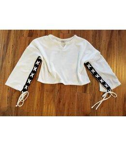 Pinc Premium L/S Lace Up Shirt Ivory/Black