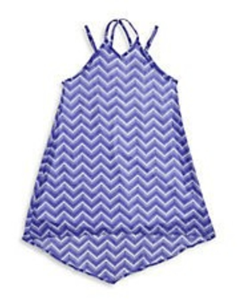 Sally Miller Sally Miller Zig Zag Chiffon Dress Blue/White