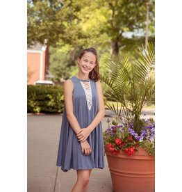 Swing Dress W/ Contrast Trim Misty Blue