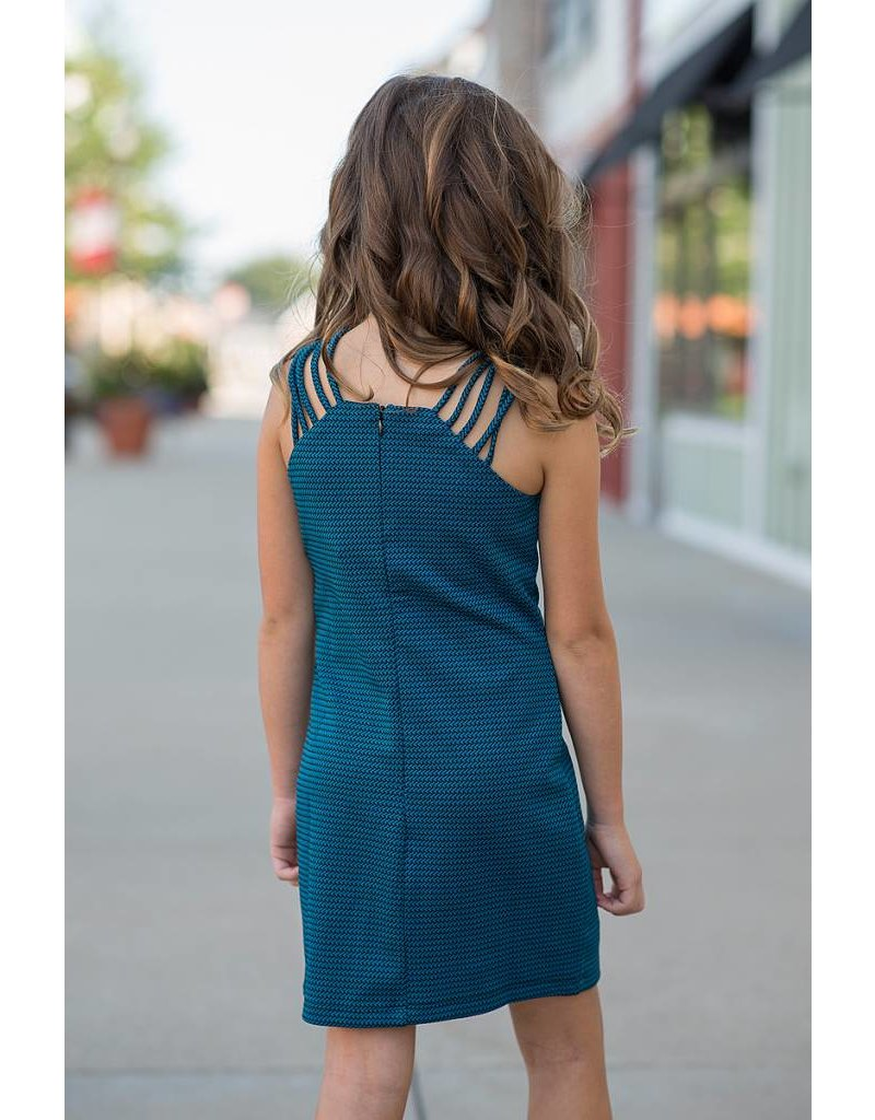 Elisa B Elisa B Textured Knit Dress Teal/Black