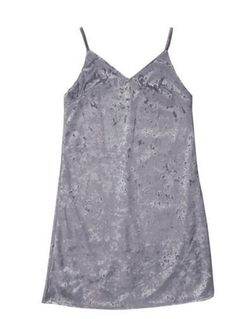 Malibu Sugar Malibu Sugar Crushed Velvet Cami Dress Silver Grey