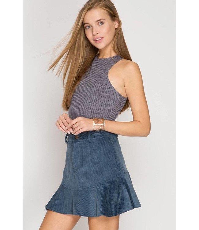 Skirt W/ Peplum Dusty Blue