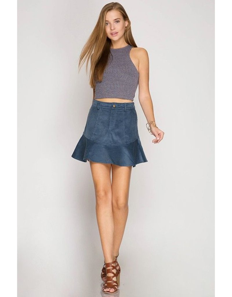 Skirt W/ Peplum Dusty Blue