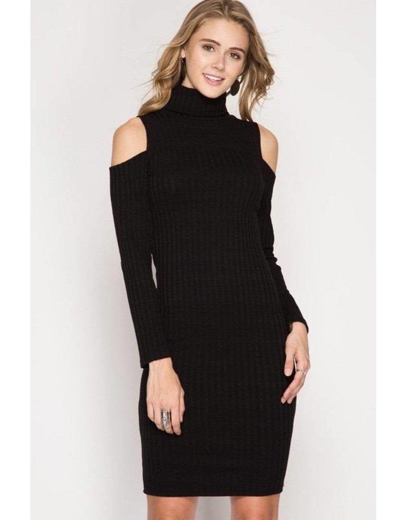 L/S Cold Shoulder Dress Black