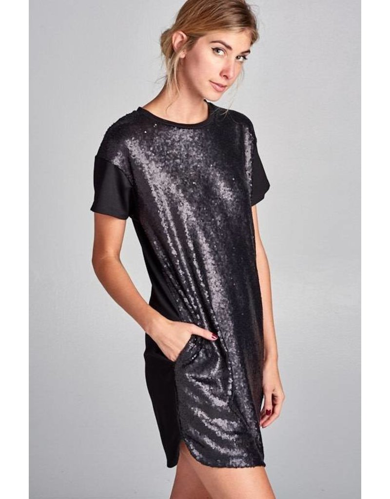 Sequin Solid Contrast Dress W/ Lining Black