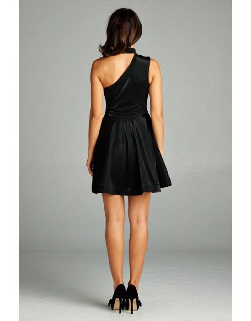 One Shoulder Choker Dress Black