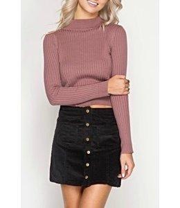 Button Up Skirt Black