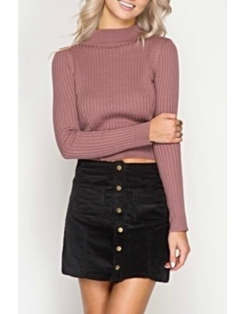 Button Up Skirt Black