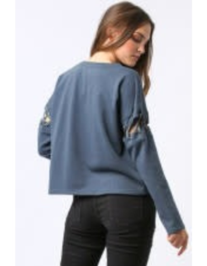 PC L/S Tie On Arm Top Dark Teal