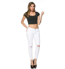 O2 Denim Mid Rise Ankle Distressed Skinny Denim White