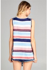 Front Tie Stripe Tank Navy/Coral