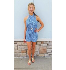 Gilli Halter Neck W/ Tie Romper Blue/Off White