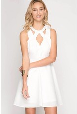 Fit & Flare Textured Dress White