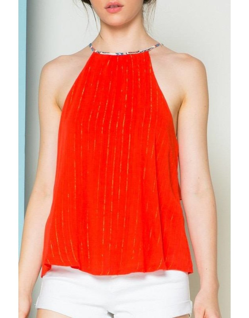 Split Back Halter Top Red/Multi