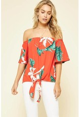 Promesa Off The Shoulder Palm Tree Top Red