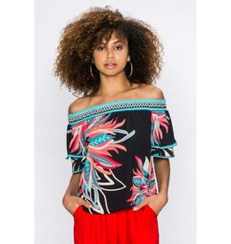 FlyingTomato Off Shoulder Floral Top W/ Ruffle Sleeve Multi