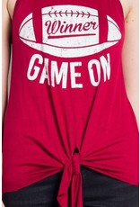 Sweet Claire Game On Football Tank W/ Tie Red/White