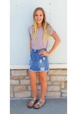 POL Embellished Skirt W/ Pearls Denim