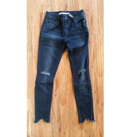 Tractr Tractr Distressed Denim W/ Uneven Hem Dark Indigo