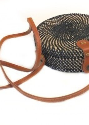 Round Rattan Bag Long Strap