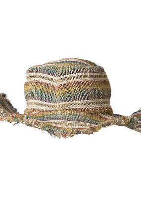 Ark Imports Wire Rim Fringe Hat- Stripe
