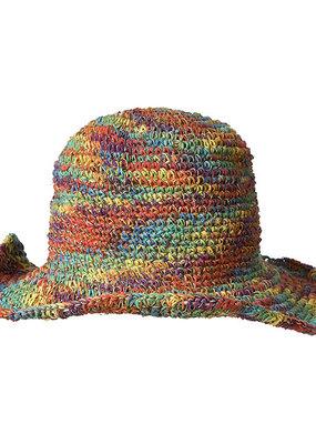Ark Imports Crochet Hemp Sun Hat- Rainbow