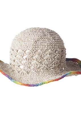 Ark Imports Crochet Hemp Sun Hat- Rainbow Trim