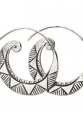 Tribal Silver Thick Hoops