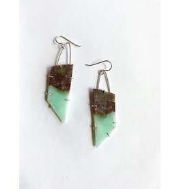 natural edge chrysophrase slab earrings