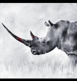 Northern White Rhino- matted print