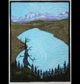 Donner Lake framed linocut