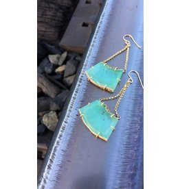 Chrysoprase & 18k chain earrings