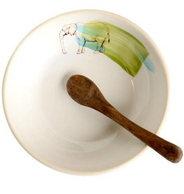 Elephant Bowl with Wooden Spoon