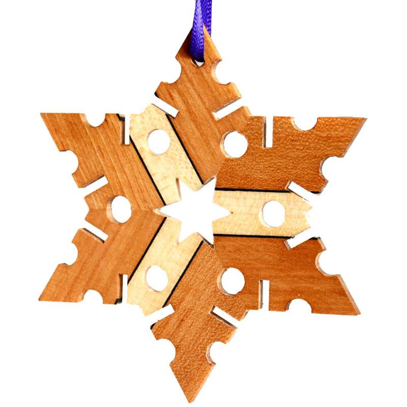 Wooden Snowflake Ornament