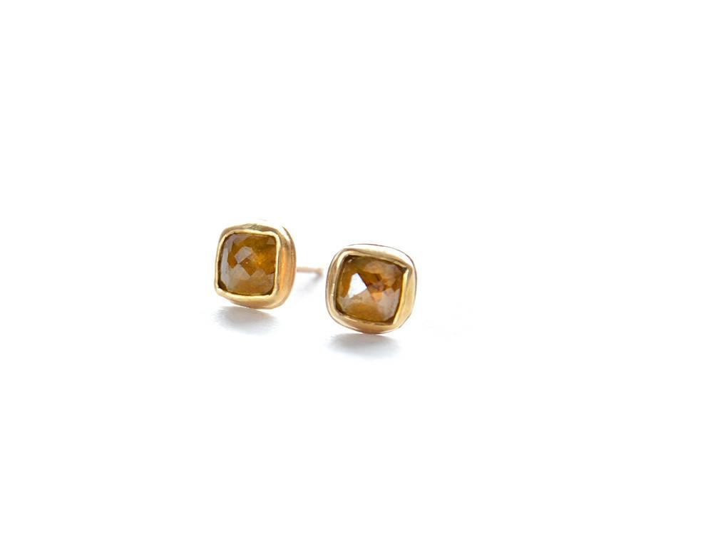Small Cushion Diamond 18k, 14k Gold Studs