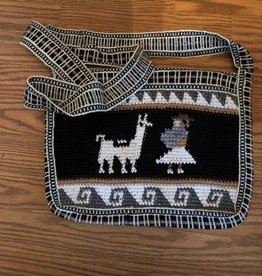 "Andean Art Alpaca Purse, Square, Black/Lined 10"" x 10"""