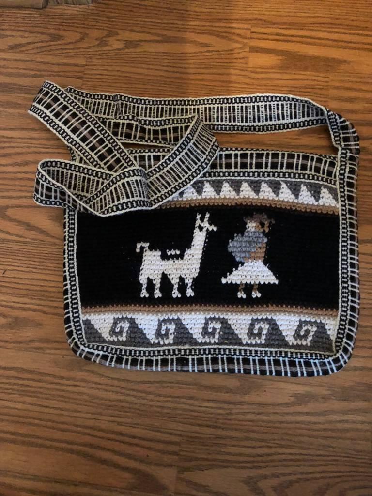 "Andean Art Alpaca Purse, Square, Black/Lined 10"" x 10"""