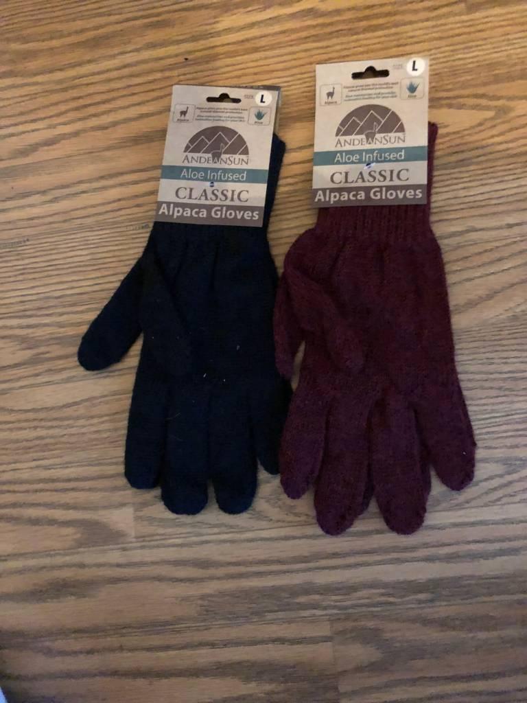 Andean Sun Alpaca Gloves, Aloe Infused, M Blck, L Gray