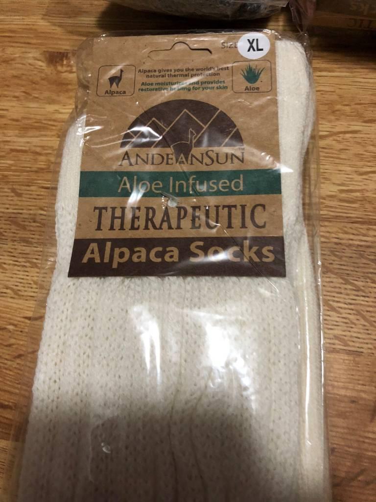 Andean Art Alpaca Socks, Therapeutic Crew Ivory XL
