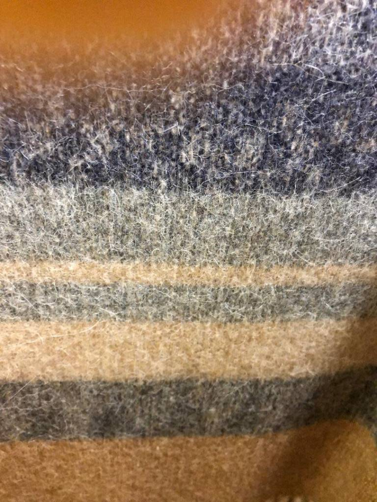 Andean Art Alpaca Blanket, Striped, Gray/Black/Fawn  Twin size
