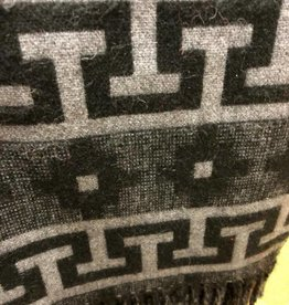 Andean Art Alpaca Blanket, Black/Gray Geometric Twin Size