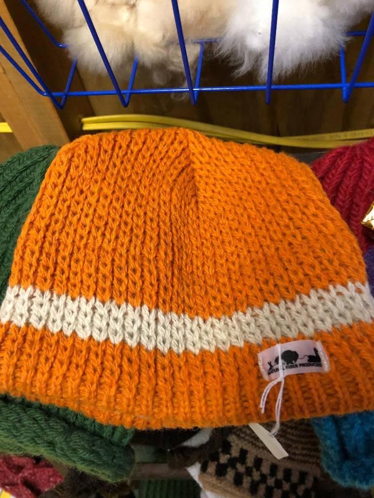 NFP Alpaca Hat, Orange with White Trim