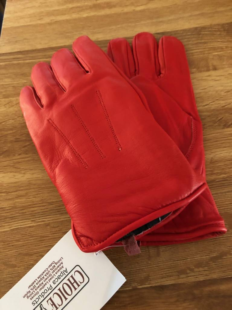 Choice Alpacas Alpaca Gloves, Leather Red M, Women's