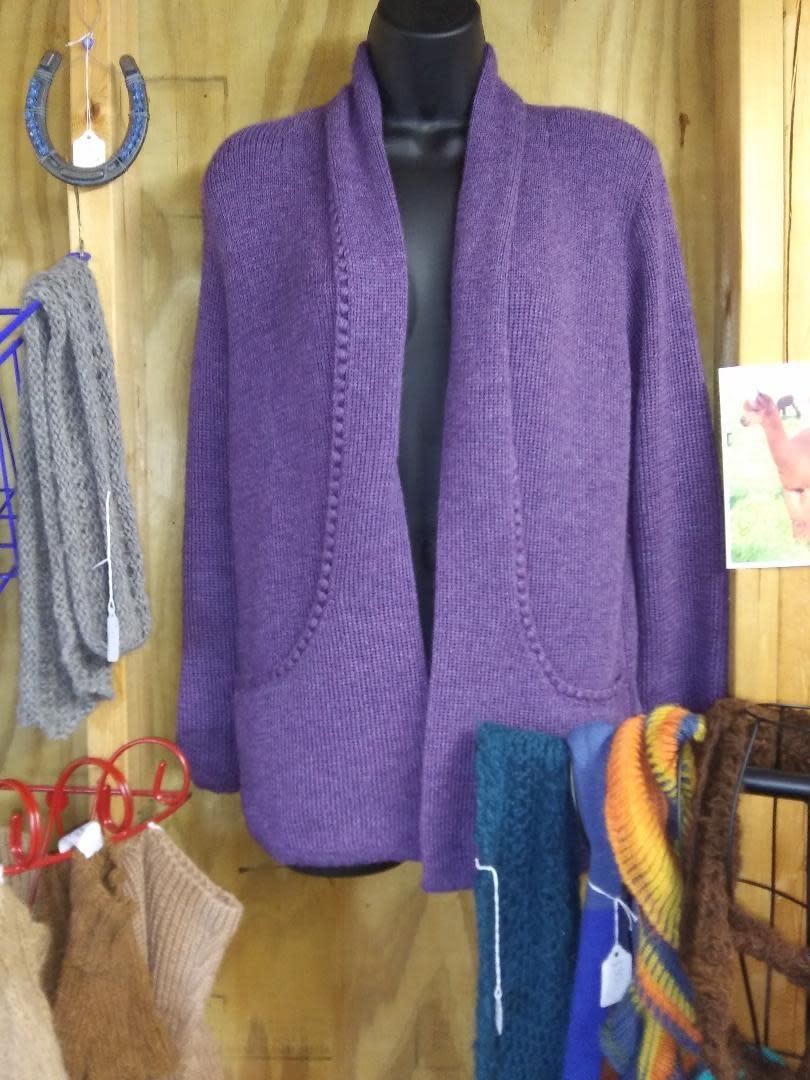 Simply Natural Alpaca Sweater, Purple Lg Sleeve Large
