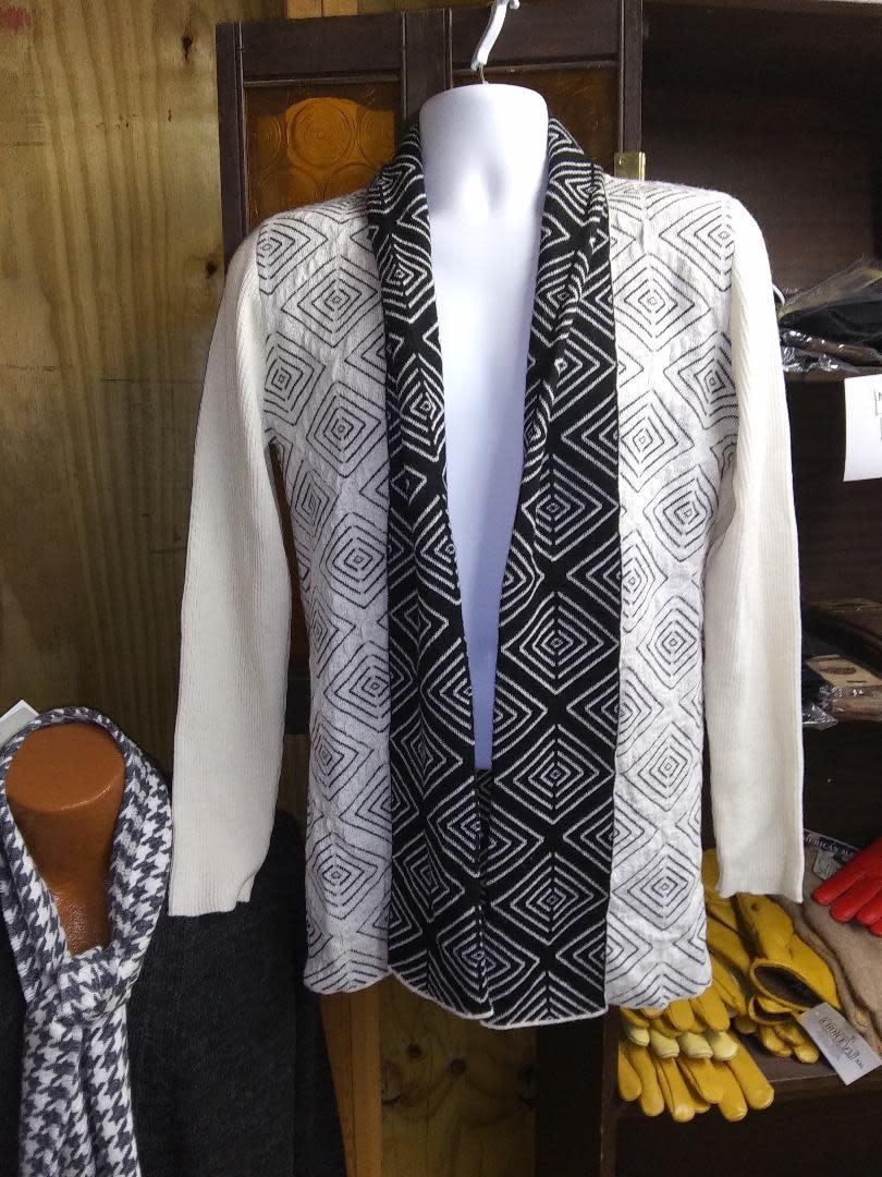 Simply Natural Alpaca Sweater. Black/White Design, Large